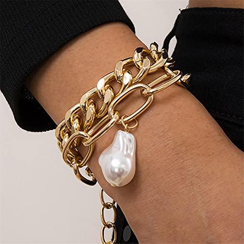 CHWEI Knitted Hat Pulseras para Mujer Pulseras De Cadena De Diamantes De Imitación De Color Oro Perla Pulseras con Dijes De Corazón Geométrico Bohemio Vintage Conjuntos Jewelry C