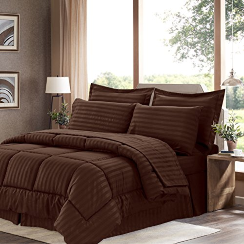 Sweet Home Collection 8 Piece Bed In A Bag with Dobby Stripe Comforter, Sheet Set, Bed Skirt, and Sham Set - King - Chocolate