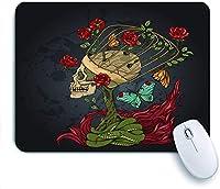ECOMAOMI 可愛いマウスパッド 頭蓋骨、バラの茂み、ヘビと炎 滑り止めゴムバッキングマウスパッドノートブックコンピュータマウスマット
