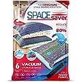 SpaceSaver Premium-Vakuumbeutel, Mehrfach-Pack (2x Größe S, 2 x Größe M, 2 x Größe L), 80% mehr Stauraum als andere Marken, 6 Stück insgesamt Inklusive einer Handpumpe für Reisen.