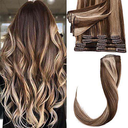 Echthaar Extensions Clip 8 Teile 18 Clips Remy Human Hair Glatt Günstig Haarverlängerung Weich Haarteil 60cm/80 Gramm 4P27# Mittelbraun & Dunkelblond