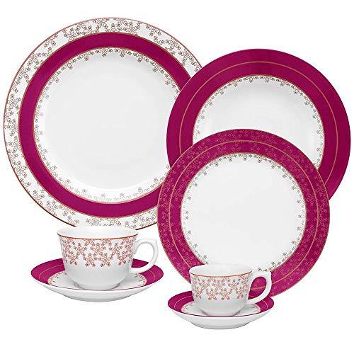 1 Aparelho de Jantar Chá e Café 42 Peças Oxford Porcelanas Flamingo Dama De Honra Multicor