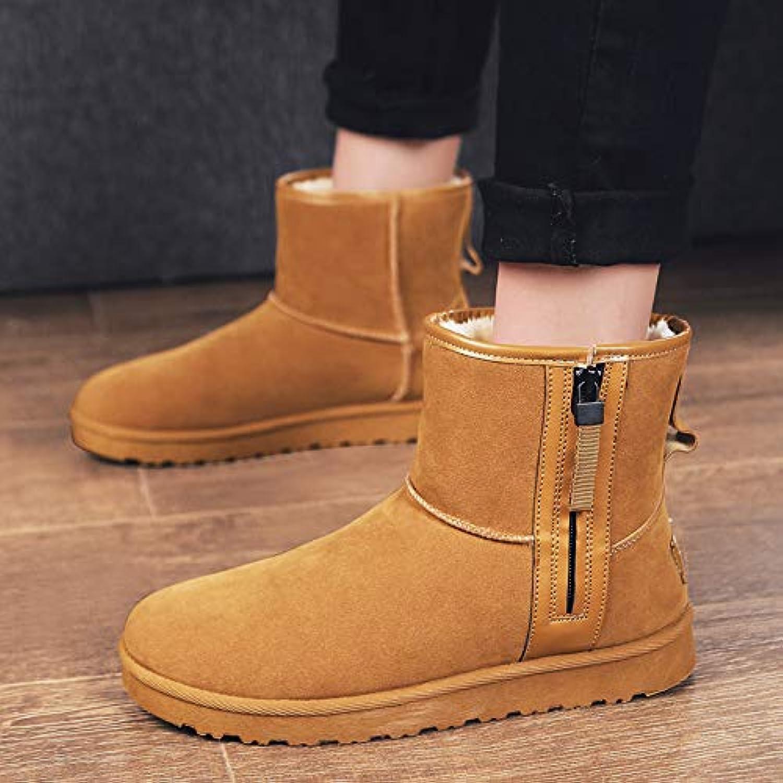 VXCZFS Outdoor boots Winter Snow Boots Men'S Boots Cotton Boots Men'S shoes Plus Velvet Warm Cotton shoes Martin Boots, 36, Yellow Men Cotton Boots