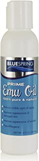 BLUE SPRING Pure Prime Emu Oil For Muscles And Joints - Fast Action Pain Relief For Men And Women - Aromatherapy Healing Deep Tissue Massage - Natural Anti Aging Anti Cellulite Formula - 4-oz