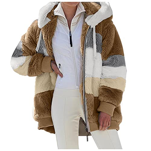 Sudadera con capucha para mujer con cremallera de empalme de invierno cálido color sólido felpa bolsillo casual manga larga con capucha Tops Outwear Coat, caqui, L