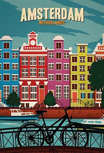 FS fiets Amsterdam Netherland metalen bord gebogen metalen sign 20 x 30 cm