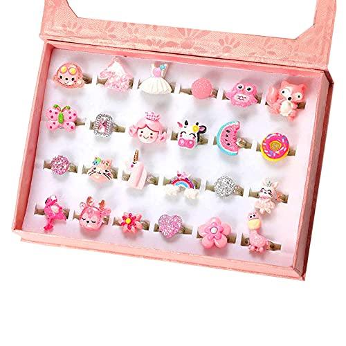 PinkSheep - Anelli gioiello per bambina, regolabili, senza duplicazioni, per ragazza finta di giocare e vestire anelli (24 anelli rosa)