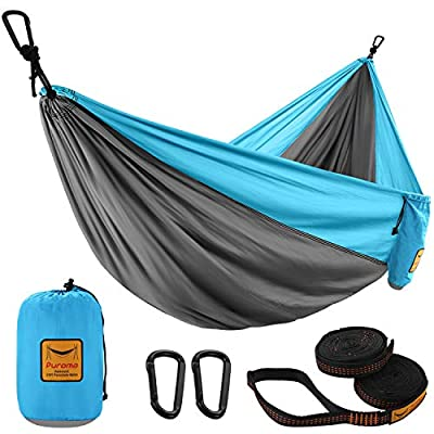 Puroma Camping Hammock Single & Double Portable Hammock Ultralight Nylon Parachute Hammocks with 2 Hanging Straps for Backpacking, Travel, Beach, Camping, Hiking (Grey & Sky Blue, Large)