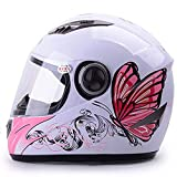 LALEO Estampado de Mariposa Ajustable Casco Moto Integral, A
