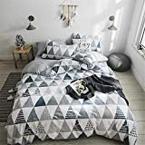 VCLIFE Cotton Bedding Sets Twin Children Duvet Cover Sets Reversible Gray Triangle Geometric Print Bedding Collections for Boy Girl - Zipper Closure & 4 Corner Ties