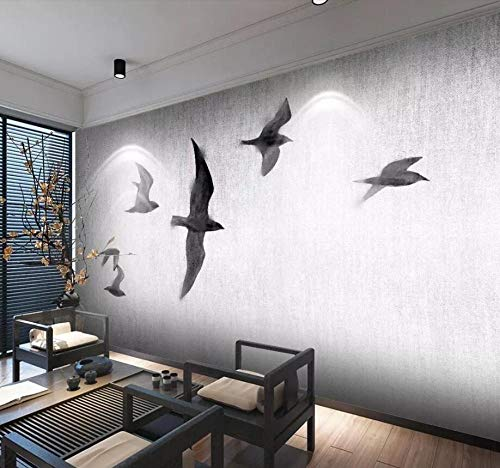 Wqavten 3D-behang, handgeschilderde ganzen van Chinese soort, de Scandinavische zwart-wit-sofa, televisieachtergrond van vogels vliegen 350 cm x 245 cm.