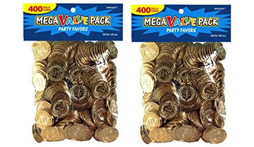 Novelty Amscan Plastic Gold Coins Value Pack - Value 800 Ct