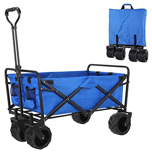femor Folding Collapsible Outdoor Utility Wagon Cart, Heavy Duty Garden Cart with All-Terrain Wheels and Carrying Bag for Shopping, Beach, Yard (Blue)