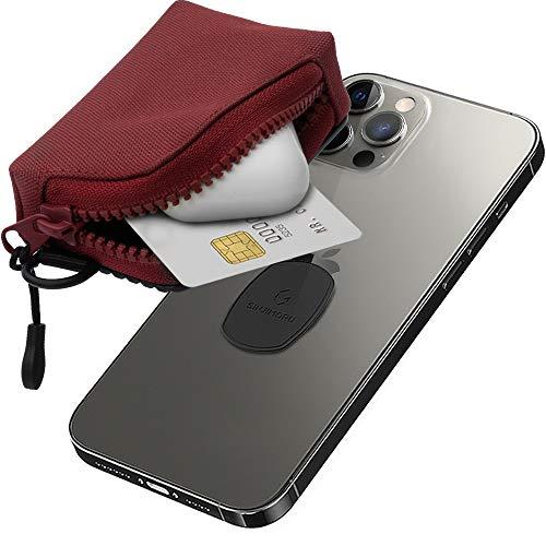 Sinjimoru Abnehmbare Mini Geldbörse für Handy, Multifunktionale Handytasche als Handy Kartenhalter Mini Geldbeutel Portemonnaie für iPhone Hülle, Sinji Mount Mini Zip. Wein Rot