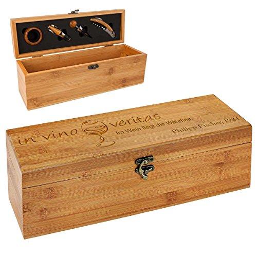 polar-effekt Personalisierte Holzbox mit Gravur - 5-teiliges Sommelier Set - Bambus Geschenkbox für Weinflasche - Weinkiste Geschenk zum Geburtstag - Motiv in vino Veritas