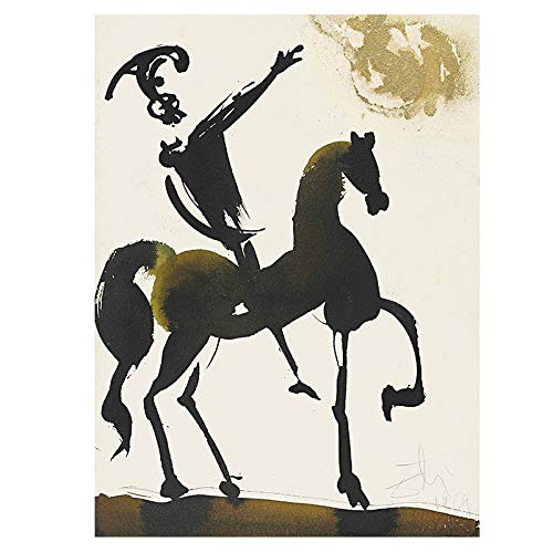 N / A Salvador Dali's abstract equestrian warrior oil painting canvas posters and prints on Cuadros wall art pictures for the living room frameless decorative painting A13 60x90cm