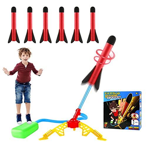 EXTSUD Windspiration Rakete, Stomp Air Rocket mit 6 Pack Ersatzraketen Druckluftrakete Raketenwerfer Schießspielzeug für Kinder Geschenk Outdoor Aktivität