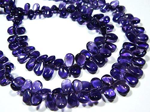 World Wide Gems Cuentas de piedras preciosas 2 hilos-AA Amatista África Suave Pera Briolette - 20,3 cm de largo - Piedras medidas- 7 x 5-8 x 5 mm Code-HIGH-8496