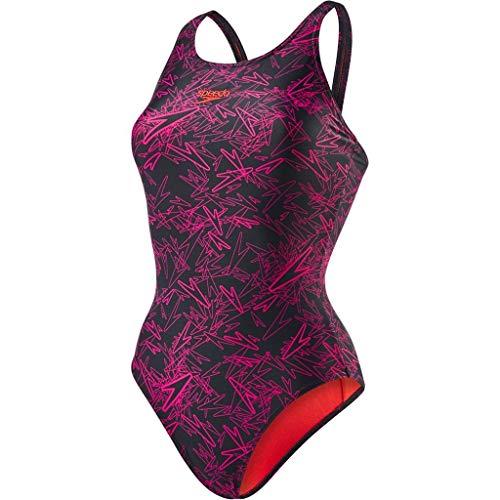 Speedo Boom Allover Muscleback, Costume da Bagno Donna, Nero (Black/Electric Pink/Lava Red Liner), 36 (IT 46)