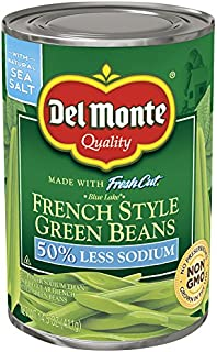 Del Monte Canned Blue Lake Fresh Cut French Style Green Beans 50% Less Sodium, 14.5 Ounce (Pack of 12)