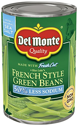 Del Monte Canned Fresh Cut French Style Green Beans with 50% Less Sodium, 14.5 Ounce (Pack of 12)