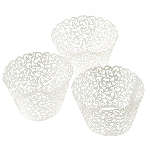 100pcs Little Vine Lace Laser Cut Cupcake Wrapper Liner Baking Cup Muffin Case Trays White - Willsa