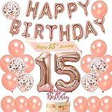 Dulce 15 decoraciones de cumpleaños niña, feliz 15 cumpleaños faja oro rosa feliz cumpleaños globo bandera para fiesta de quince cumpleaños