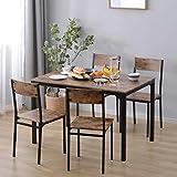 Juego de mesa de comedor y sillas, 5 piezas, 1 mesa + 4 sillas, marco de acero estilo industrial retro de madera para el hogar, cocina, comedor (5 juegos)