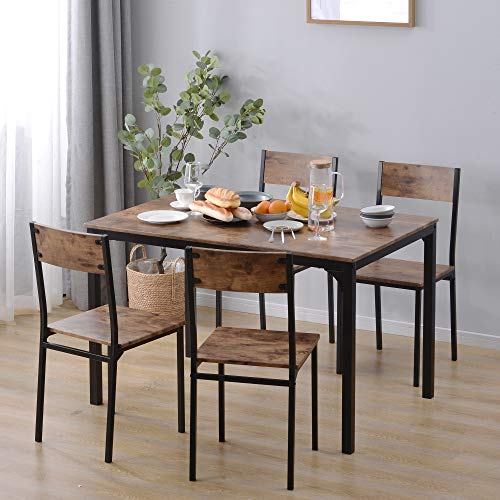 Juego de mesa de comedor y sillas, 5 piezas, 1 mesa + 4 sillas, marco de acero estilo industrial retro de madera para el hogar, cocina,...