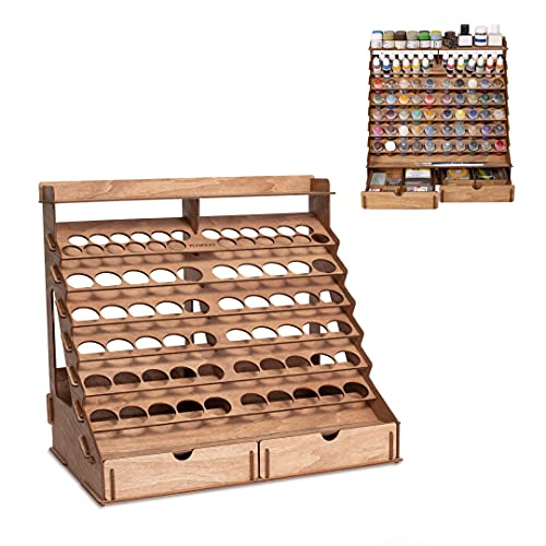 PLYDOLEX Wooden Paint Organizer for 74 Bottles of Paints and 14 Paint Brushes - Paint Rack Organizer with 2 Cabinets for Art Tools and 6 Miniature Stands - Modular Paint Rack for Miniature Paint Set