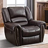 IOMOR Manual Reclining Chair, Oversized Vintage Faux Leather Recliner Chair for Living Room (Brown)