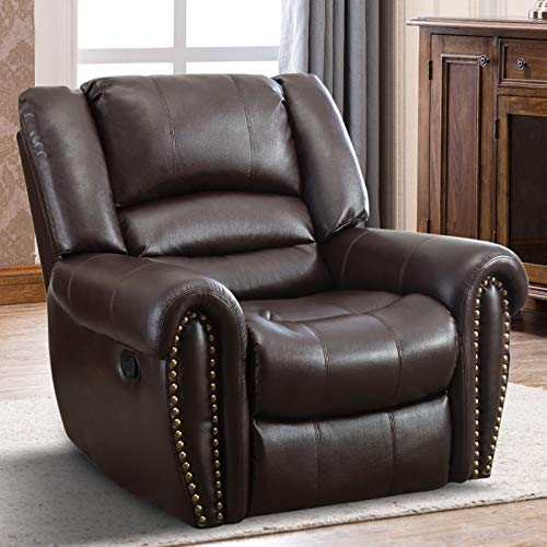 IOMOR Manual Reclining Chair, Oversized Vintage Leather Recliner Chair for Living Room (Brown)
