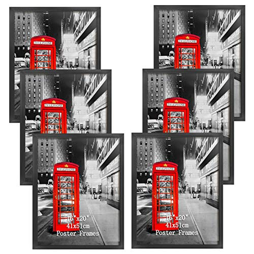 Lavezee 16x20 Picture Frame Sets of 6, Black Poster Frames 16 by 20 Inch for Wall Pictures