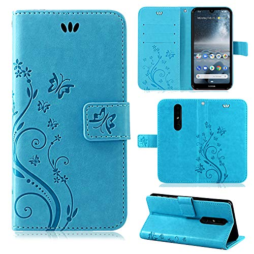 betterfon | Flower Hülle Handytasche Schutzhülle Blumen Klapptasche Handyhülle Handy Schale für Nokia 4.2 Blau