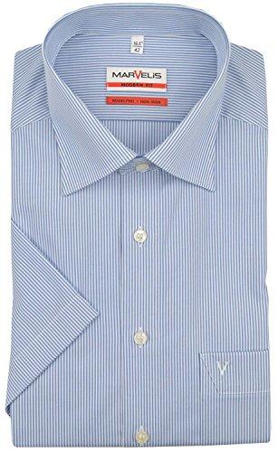 Marvelis Hemd Modern Fit blau/weiss, Zündholzstreifen, Größe 42 - L