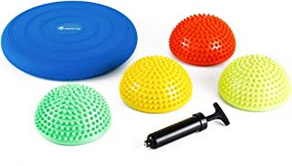 StrongTek Hedgehog Balance Pods with Hand Pump, Stability Balance Trainer Dots Plus Large Balance Pad, Core Body Balancing, Inflatable Stepping Pads, Sensory Wiggle Seats for Kids (Set of 5 Colors)