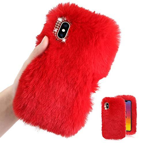 Weich Plüsch Hülle für Samsung Galaxy Note 20 Ultra,Rot Silikon Hülle für Samsung Galaxy Note 20 Ultra 5G,Moiky Diamant Warme Hase Pelz Winter Flauschige Rabbit Pelz Soft TPU Handyhülle