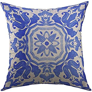 Mugod Decorative Throw Pillow Cover Case for Couch Sofa Bed Home Decor,Portuguese Azulejo Tiles Blue White Gorgeous Patterns for Case for Smartphones Pillows Towels Linens Pillow case 16x16 Inch:Eventmanager