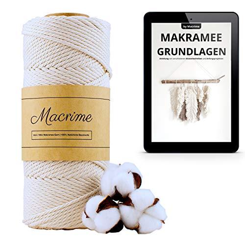 Macrime Premium Makramee Garn 4mm x 100m I 100% natürliche Baumwolle I Mit Anleitung/E-Book I 4-Fach gezwirntes Baumwollgarn I DIY Baumwollkordel zum Basteln