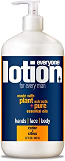 Everyone 3-in-1 Lotion for Every Man for Hands, Face, and Body with Natural Herbal Extracts and Essential Oils, Cedar and Citrus, 32 Fl Oz (6 Count)
