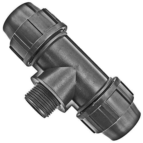 PP Fitting | T-Stück mit Außengewinde | für PE-Rohr ∅ 40 mm x 1 1/4 Zoll AG | Verschraubung Klemmverbinder Verteiler