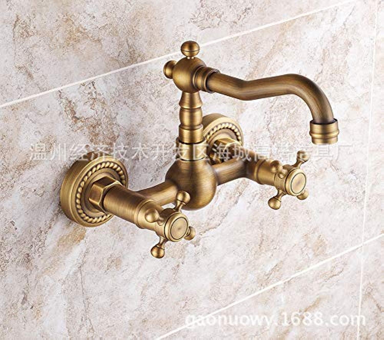 ROTOOY DIY Bad Waschbecken Wasserhhne Wasserhhne Wasserhahn Antike In-Wand-Wasserhahn Warm und Kalt Doppel-Wand-Bad Becken