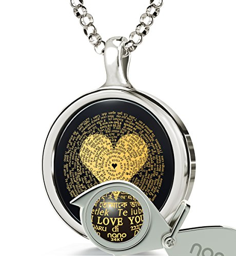 """925 Sterling Silver I Love You Necklace 24k Gold Inscribed in 120 Languages Including Braille and Sign Language on Round Black Onyx Gemstone Anniversary Pendant, 18"""" Chain"""