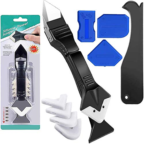 3 in 1 Silicone Caulking Tool 9 Pcs Caulk Removal Tool(Stainless Steelhead), Grout Removal Tool Sealant Finishing Tool Grout Scraper, Glass Glue Angle Scraper for Kitchen Bathroom Window, Sink Joint