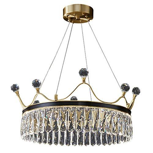 Luz colgante moderna, lámpara de corona creativa LED, lámpara de cristal de cobre decorativo de la sala de estar, para la isla de la cocina de la habitación (52cm)