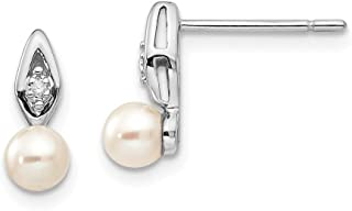 14k White Gold Freshwater Cultured Pearl Diamond Post Stud Earrings Set Drop Dangle Birthstone June Fine Jewelry Gifts For Women For Her