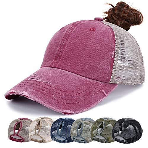 Damen Trucker Cap - Baseball Cap Mesh Baseballmütze Unisex Sommer Kappe Mesh Hüte Hip Hop Pferdeschwanz Caps Verstellbar Herren Sport Mütze (Rot)