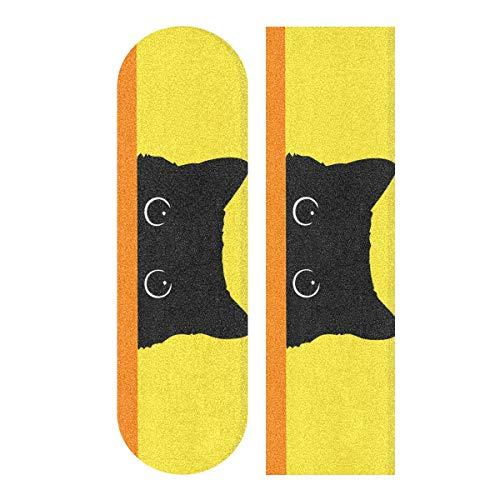 Glaphy Cat Yellow Skateboard Deck Sandpaper Non-Slip Grip Tape Waterproof Longboard Griptape 1 Sheet, 9.1x33.1 Inch