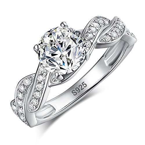Merthus Promise Jewelry Cubic Zirconia CZ Infinity 925 Sterling Silver Wedding Ring for Women Size 7