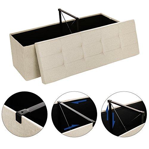 SONGMICS Sitzbank Sitztruhe max. statische Belastbarkeit 300 kg mit Stützrahmen aus Metall 120 L beige 110 x 38 x 38 cm LSF77BE - 2